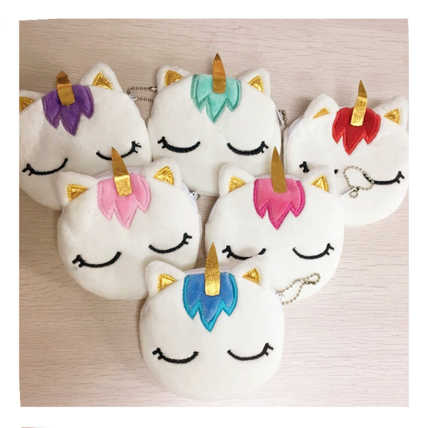 3 pcs Unicorn Children Plush Coin Purse Zip Change Purse Wallet Kids Girl 6 Colors Women Pouch Key Packet(China)