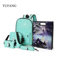 YUFANG 6Pcs Set Composite Bag Canvas Schoolbag For Teenage Girls Cute Rabbit Printing Mochila With Cap