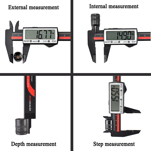 NEWACALOX Touch Digital Caliper Carbon Fiber Ruler Extra Large LCD Screen Inch/Metric Conversion 0-6 Inch/150 mm Measuring Tool