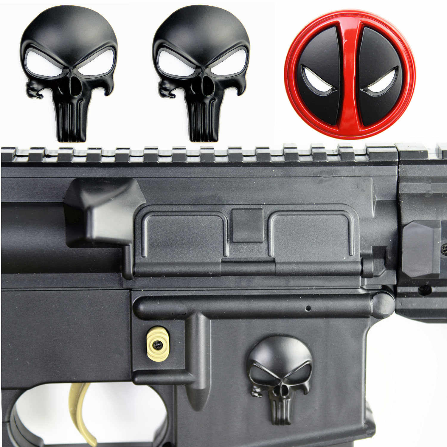 3D Punisher Schedel Deadpool Magwell Metalen Decal Badge Sticker Voor AR15 AK47 M4 M16 Airsoft Rifle Pistool Jacht Accessoires