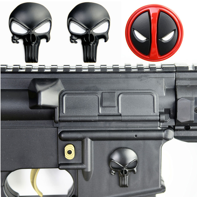 3D Punisher Skull Deadpool Magwell Metal Decal Badge Sticker for AR15 AK47 M4 M16 Airsoft Rifle Pistol Gun Hunting Accessories