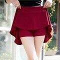 Saias novas mulheres de cintura alta Saias anti esvaziado bermudas plissadas casuais adequado para quatro temporadas, Alta elasticidade uma saia Line