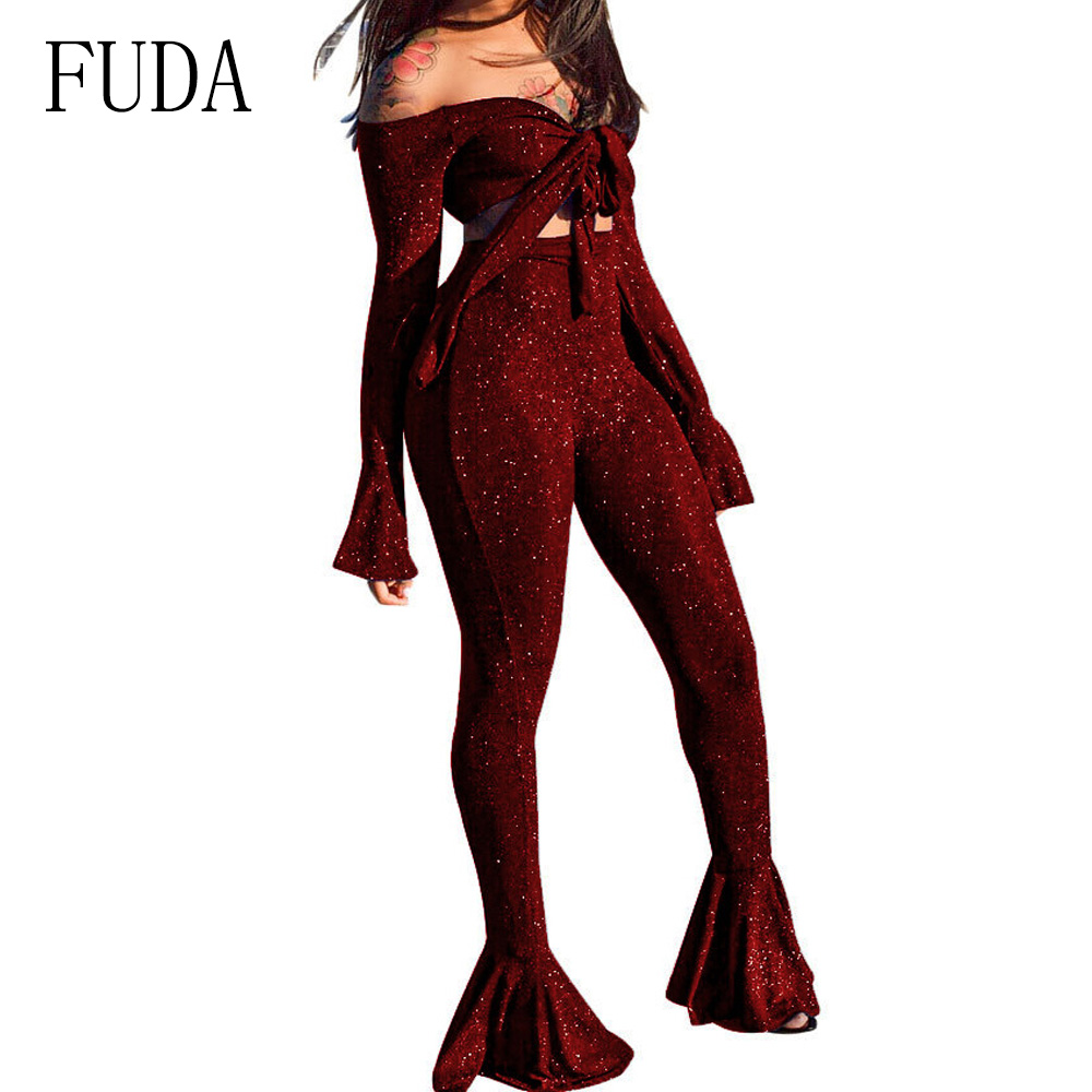 FUDA New Silver Silk High Elastic Bow Tie Sexy Two Pieces Suit Top + Bell Bottom Pants Women Bodycon Bandage Autumn Jumpsuits