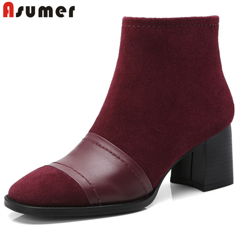 ASUMER black fashion spring autumn shoes woman square toe zip ankle boots ladies genuine leather boots thick high heels boots цена