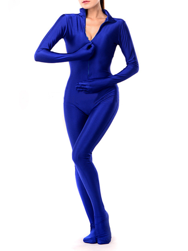 Blue Unisex Spandex Lycra Zentai Catsuit with High Neck Zentai Bodysuit Hot Sell
