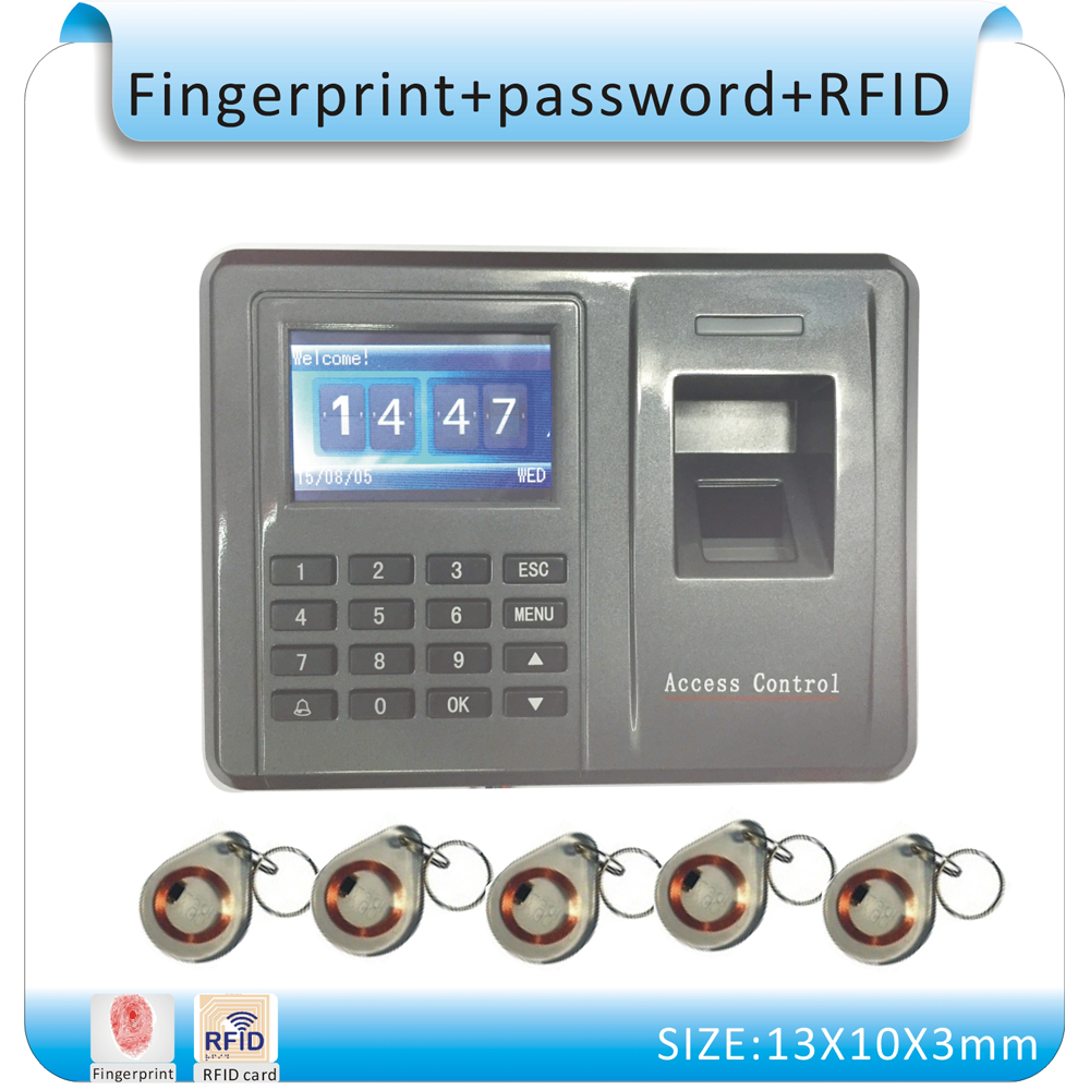 RFID&Biometric Fingerprint Access Control Machine Electric RFID Reader Scanner Sensor Code System  +10 crystal keyfobs biometric fingerprint access controller tcp ip fingerprint door access control reader