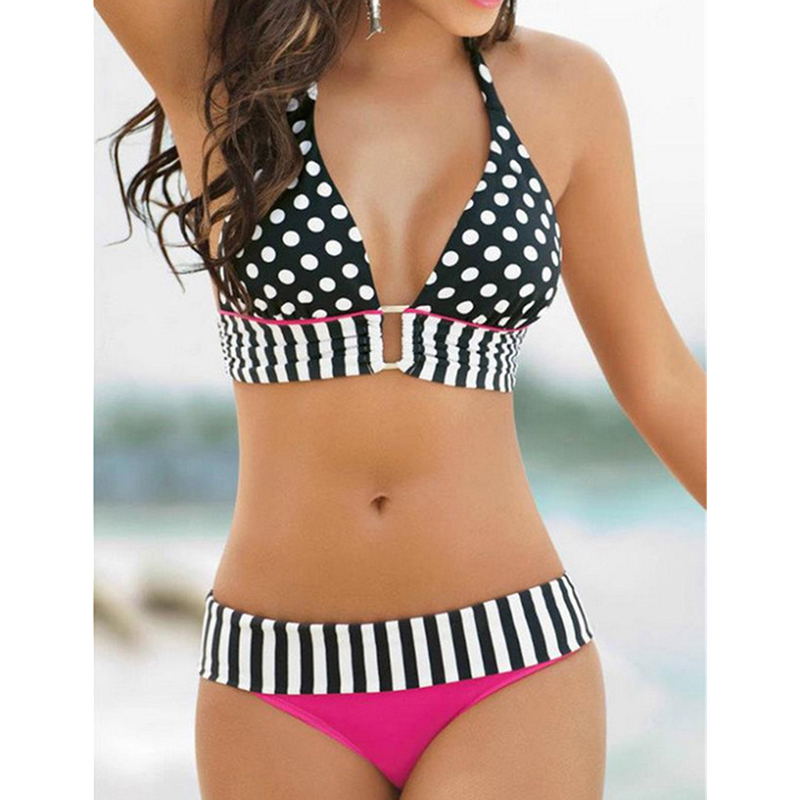 2017 New Retro Brazilian Swimsuit Stripe Dotted Bikini Women Vintage Swimwear High Waist Bikinis Set Summer Bandage Bathing Suit