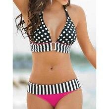 2017 New Retro Brazilian Swimsuit Stripe Dotted Bikini Women Vintage Swimwear High Waist Bikinis Set Summer Bandage Bathing Suit