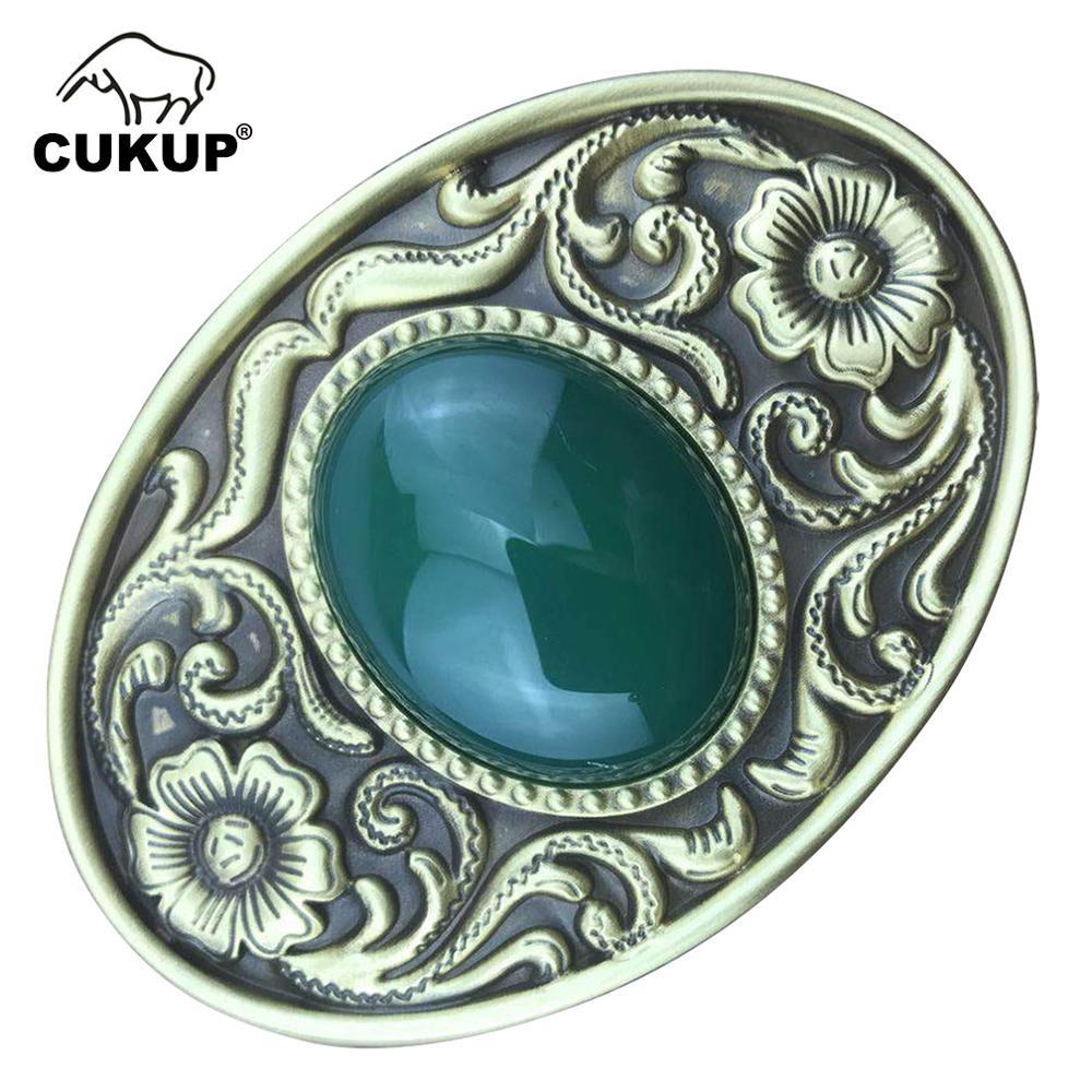 CUKUP New Design Floral Pattern Solid Brass Buckle Metal & Real Jade for 3.7-3.9cm Wide Belt Paties Buckles Only for Men BRK011