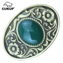 CUKUP New Design Floral Pattern Solid Brass Buckle Metal & Real Jade for 3.7-3.9cm Wide Belt Paties Buckles Only Men BRK011