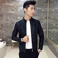 Men's Leather Jackets Black and white spell color stripe stitching Slim casual jacket 2017 autumn Mandarin Collar leather coat