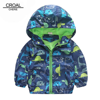 90 120cm Cute Animal Autumn Windbreaker Kids Jacket Boys Cute Dinosaur Baby Outerwear Coats Boys Kids