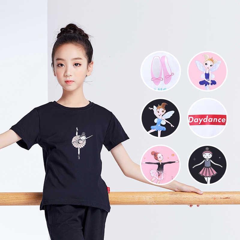 Yaz Kız Baskılı Gömlek Çocuklar Tam Pamuk T Gömlek Kısa Kollu Üst Çocuk Spor Yoga Koşu Spor Tees Siyah Beyaz pembe