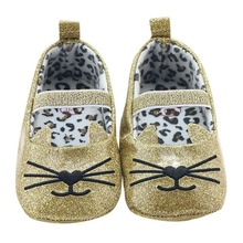 2017 Hot Sale Cartoon Cat Breathable Infant Girl Shoes Soft Sole An-Slip Shallow Newborn Baby Kids First Walker 0M-18M M1