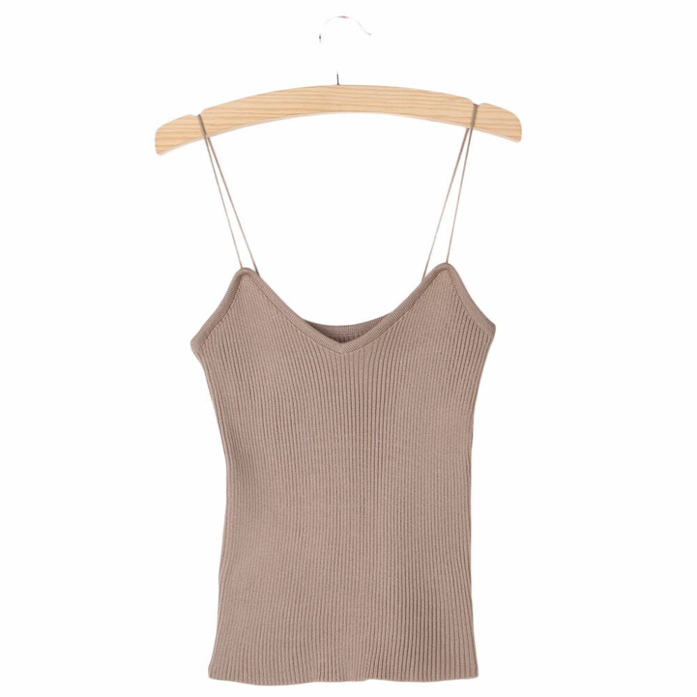 HTB16nKOPVXXXXbCXVXXq6xXFXXXx - REE SHIPPING 9 Colors Knitted Tank Tops Women Stretchable VNeck Slim JKP311