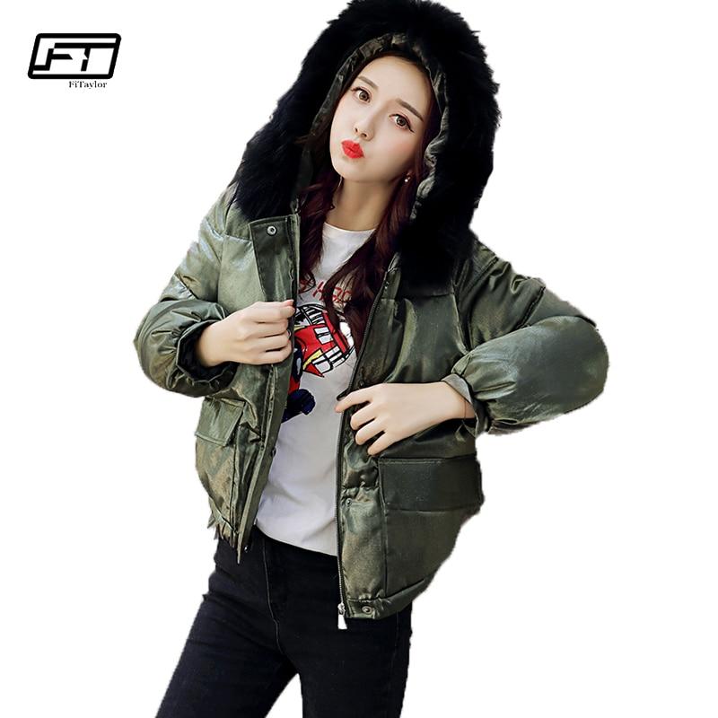 Fitaylor 2017 Fashion Fur Collar Hooded Parka Mujer Winter Warm Down Cotton Jacket Women Solid Loose Casual Short Female Coat цены онлайн