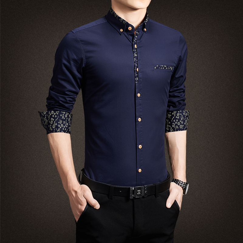 2017 New Men Shirts Casual Slim Fit Stylish Patchwork