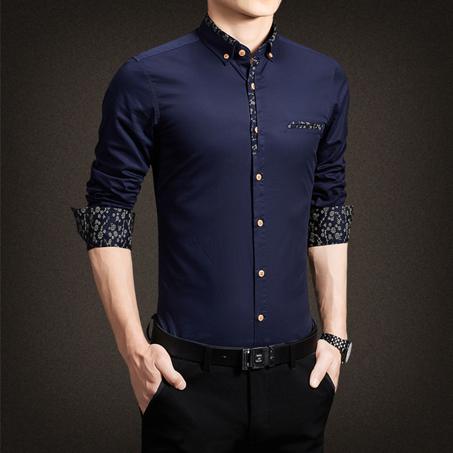 2017 New Men Shirts Casual Slim Fit Stylish Patchwork Dress Shirts ...