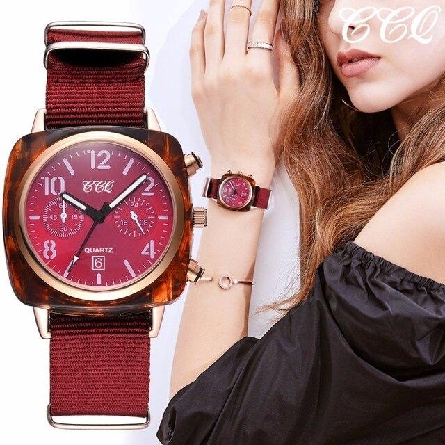 נשים בד רצועת ספורט שעון יוקרה נקבה כיכר שעון CCQ מותג קוורץ לצפות Dropshipping