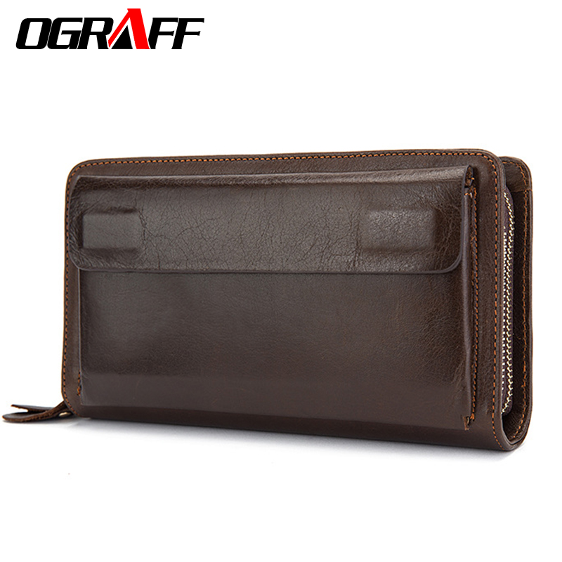 OGRAFF Men Wallet men Genuine Leather Wallet Clutch Male Card Holder money Bag Handy Wallets Walet Coin purse organizer 2018 intelligent 1 lcd electronic 7 grid pill capsule medicine organizer case blue white 2 x aaa