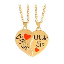 "Hot sale 2 pcs/set ""Big sis Little sis"" Red Heart shaped Pendant Necklaces Sister Chains BFF Best Friends Forever Gift(China)"
