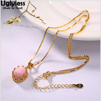 Uglyless Real 925 Sterling Silver Women Luxury Natural Pink Shell Crown Designer Pendants with Chains Hollow Fine Jewelry Retro