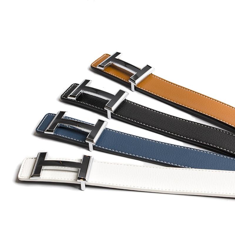 2018 nuevo diseñador de lujo H cinturones hombres alta calidad hombres mujeres genuino cuero Real H hebilla correa para Jeans 3,2 cm