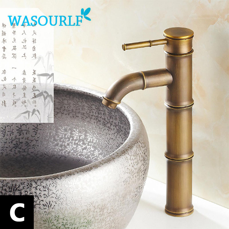 WASOURLF basin faucet vintage style Brass single handle mixed luxury gold kitchen tap bamboo special design bathroom