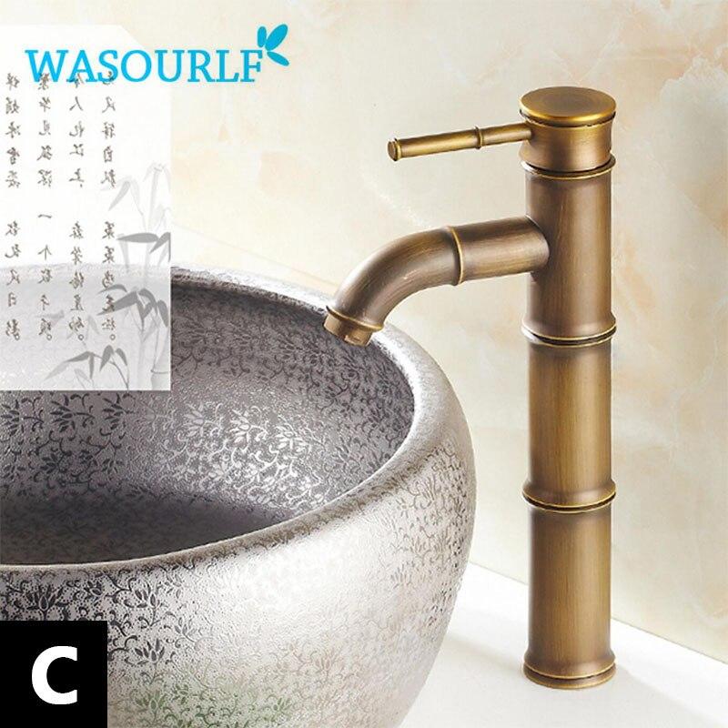 WASOURLF robinet de lavabo style vintage en laiton poignée unique mixte luxe or robinet de cuisine en bambou design spécial salle de bain