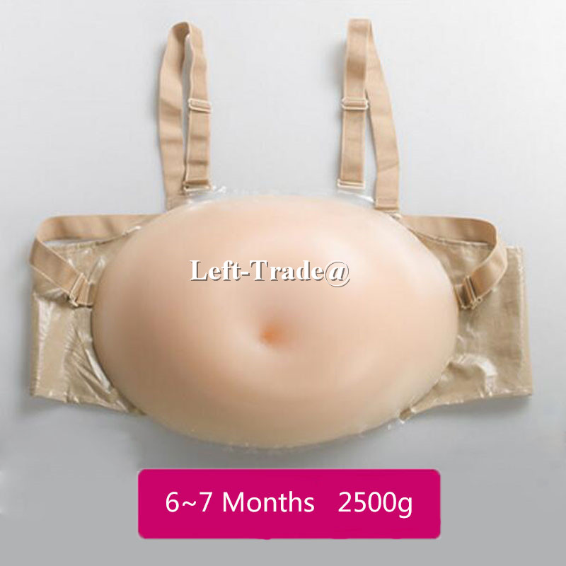 6~7 months 2500g big pregnant artificial silicone belly invisible real false pregnancy Halloween party crossdressing hot sale 7 8 months 2500g l size artificial pregnant silicone fake belly false jelly tummy for cross dress women men actor
