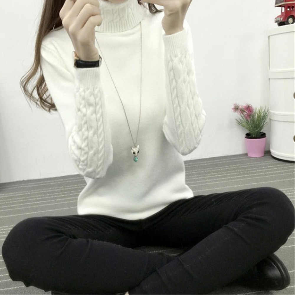 knitted women sweater winter autumn 2018 long sleeve slim thin ladies tops pullovers female turtleneck women pull femme hiver