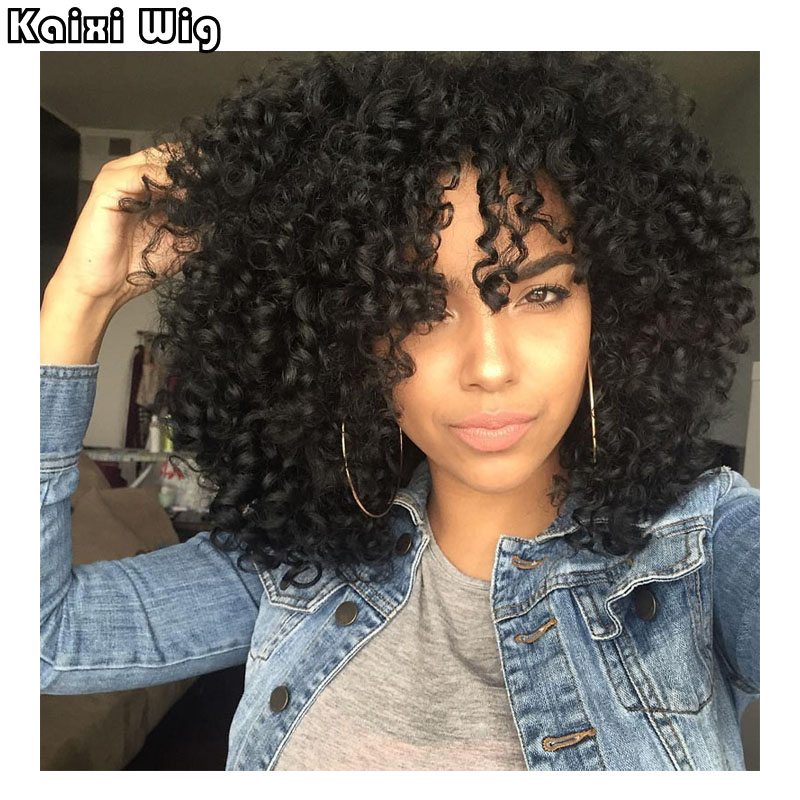 18 Afro Kinky Curly Wigs Short Synthetic Wigs For Black