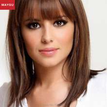 Long Straight Human Hair Wigs For Women Elegant MAYSU Neat Bang Classic Brazilian Virgin Hair Wigs Natural Hair Wigs With Bangs