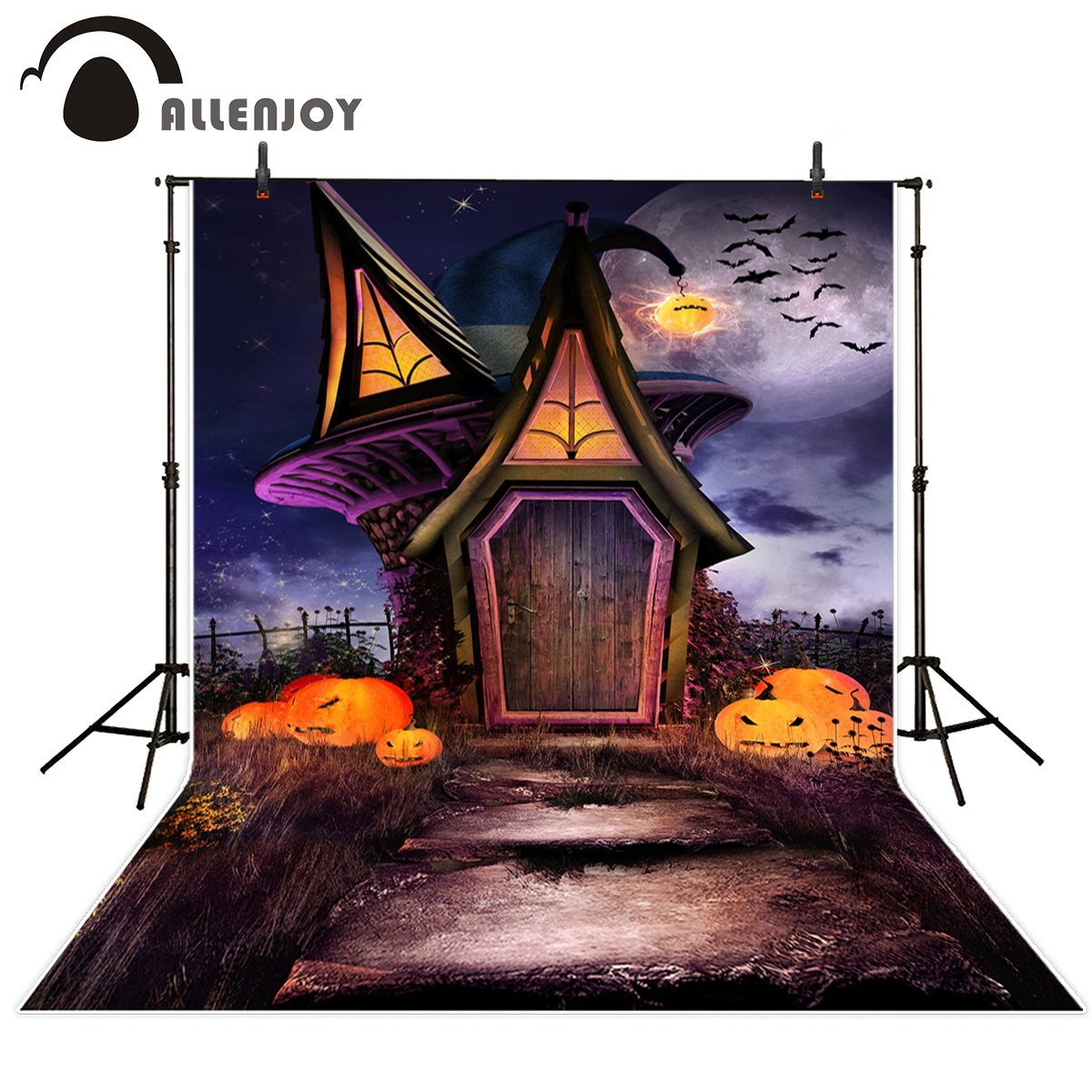 Allenjoy photography background mysterious Witch's House pumpkin Halloween theme backdrop professional photo background studio ночная сорочка длинная без рукавов