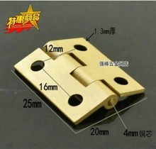 hot deal buy 10pcs pure brass 1 inch  mini cabinet drawer butt hinge brass small hinge 4 small hole diy hardware