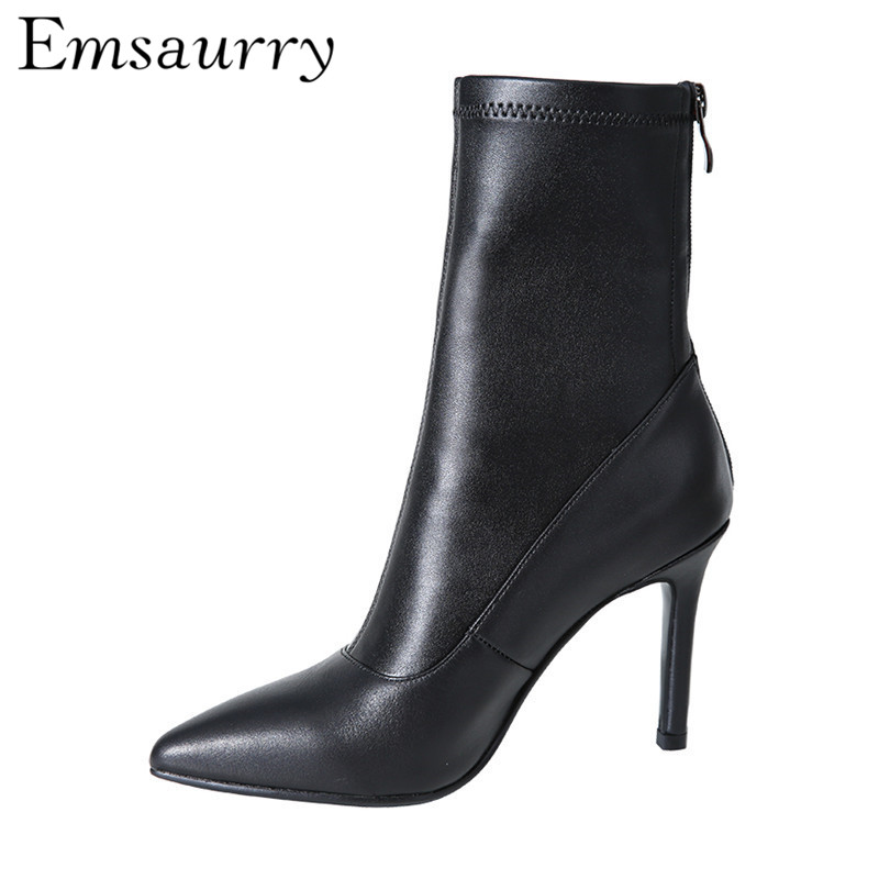 Black Leather Short Boots Stiletto Heel Sexy Point Toe Side Zip Back Zipper Fashion Autumn Winter Ankle Boots Women цена