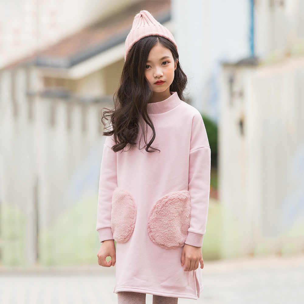 4c274f6b3ed ... 2019 fashion spring thick warm fleece dresses age for 4-14 yrs big girl  long ...