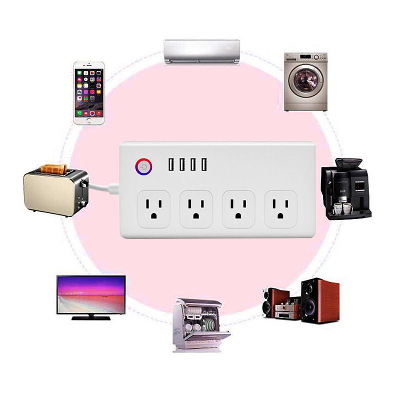 WiFi Smart Power Strip Electrical Sockets Timer Intelligent 8 Ports US Plug Socket WiFi Remote Control Power on/off with phone