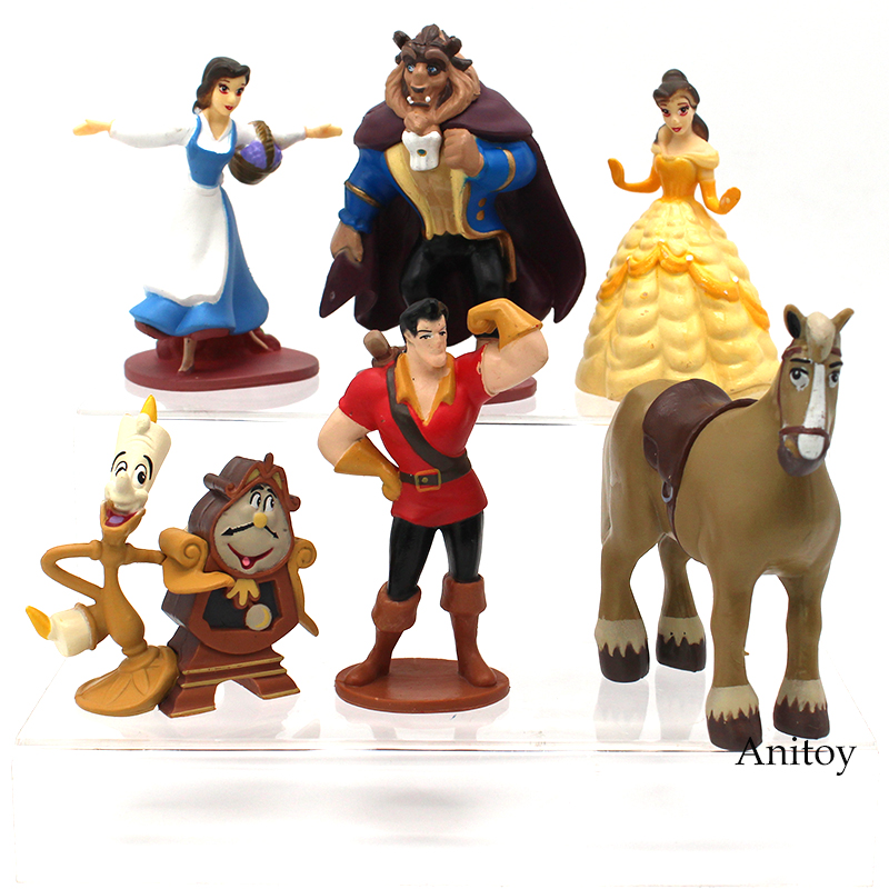 6pcs/set Beauty and the Beast Princess Bella Beast PVC Figures Collective Model Toys Girls Gifts 7-10cm patrulla canina with shield brinquedos 6pcs set 6cm patrulha canina patrol puppy dog pvc action figures juguetes kids hot toys