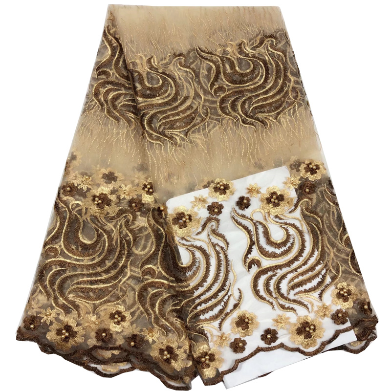 Free shipping (5yards/pc) elegant cream and brown African French net lace fabric with beads and embroidery for dress FL3940