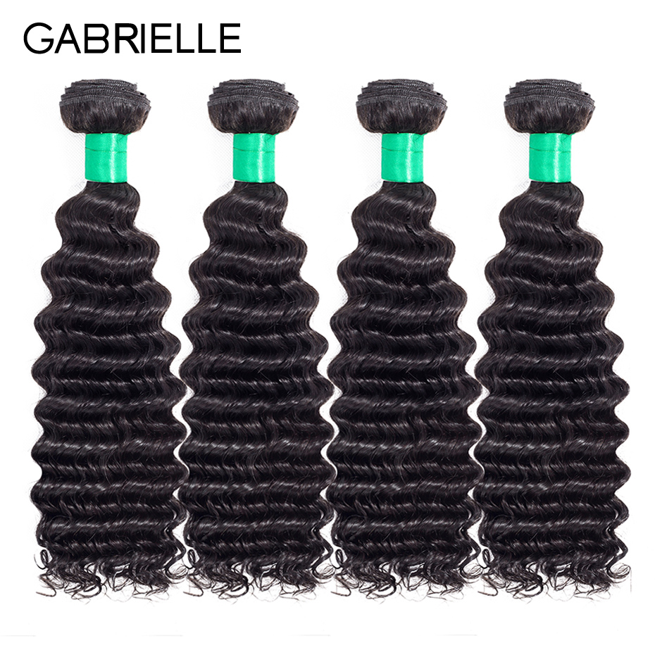 Gabrielle Peruvian Deep Wave Hair Weave Bundles Natural Color 100% Non-remy Human Hair Weft 4 Pcs Hair Extensions Free Shipping