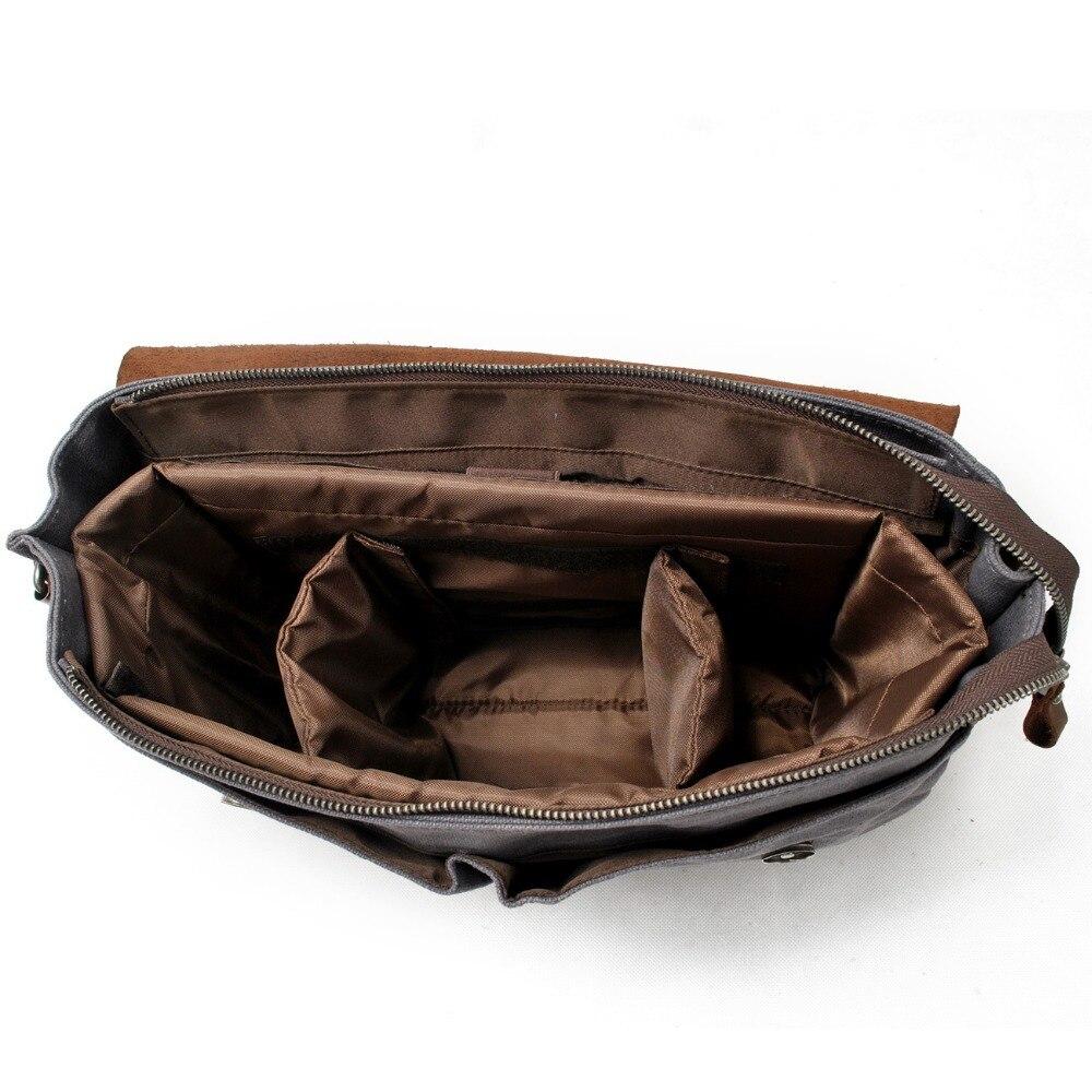 M020 nuevo lienzo Vintage DSLR SLR Cámara bolsa correa de hombro funda Casual bandolera paquete para Canon para Sony bolsa impermeable - 3