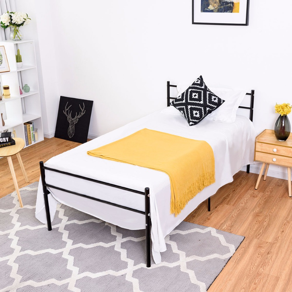Goplus Twin Size Metal Bed Frame Platform 6 Legs Headboards Furniture Bedroom Black Bedroom Furniture HW59406BK