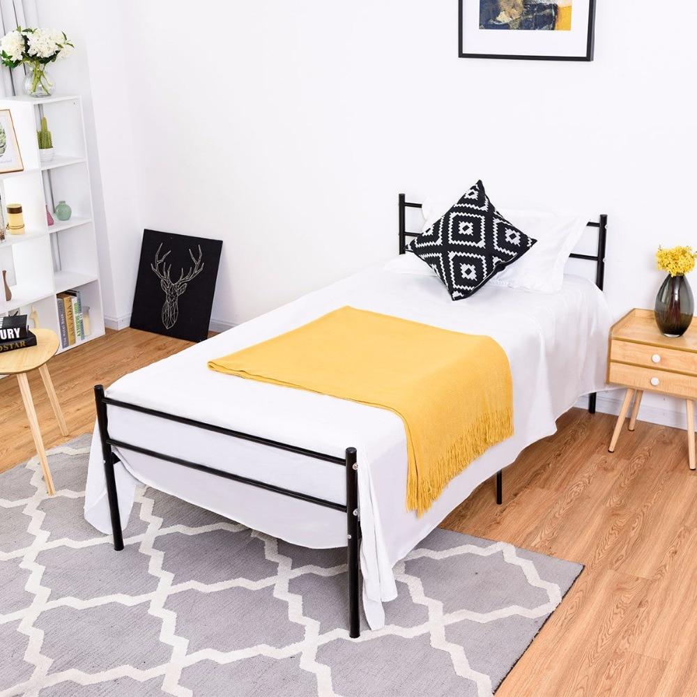 Goplus Twin Size Metal Bed Frame Platform 6 Legs Headboards Furniture Bedroom Black Bedroom Furniture HW59406BK