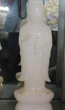 25 «Китайский Натуральный Белый Нефрит Стенд Лотоса Кван-инь Бодхисаттва Статуя Будды