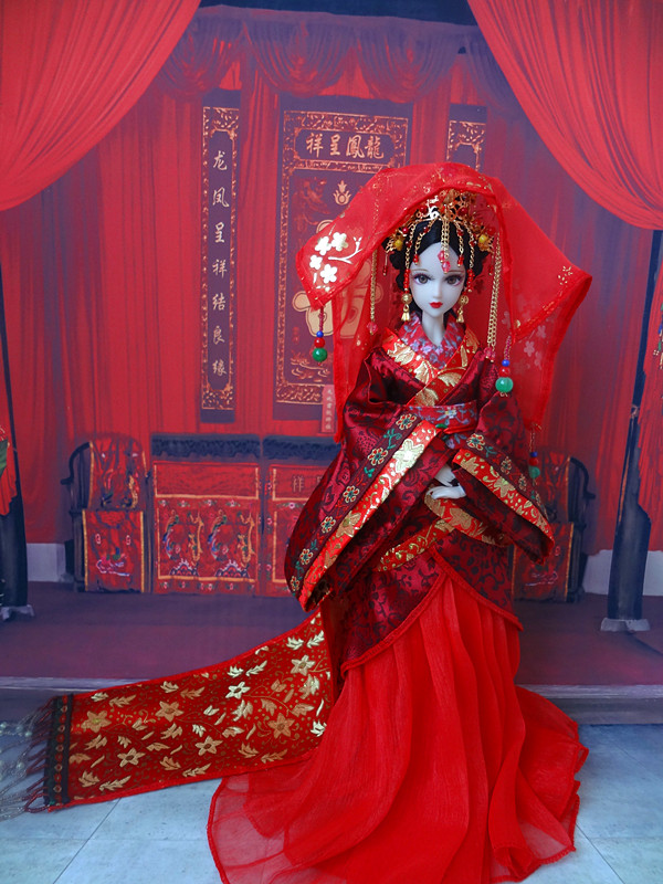 12 Pretty Chinese Ancient Bride Dolls Collectible Tang Dynasty Bride Toys BJD Doll Dress Girl Dolls Wedding Gifts pure handmade chinese ancient costume doll clothes for 29cm kurhn doll or ob27 bjd 1 6 body doll girl toys dolls accessories