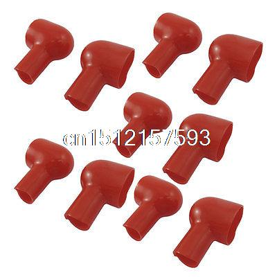 10 Pcs Red Soft Plastic Battery Terminal Insulating Covers Boots Ivpxb 14 pcs insulating plastic handle battery metal alligator clips 30mm
