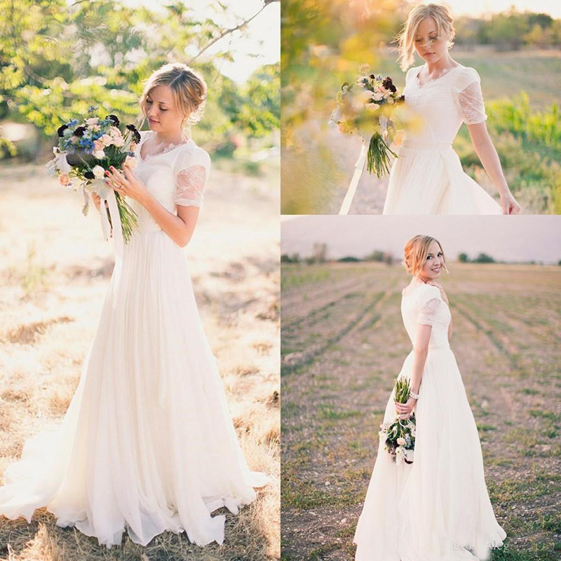 2019 Short Sleeves Lace Informal Modest Wedding Dresses V Neck Cheap Simple Country Wedding Party Gowns Informal Bridal Gowns