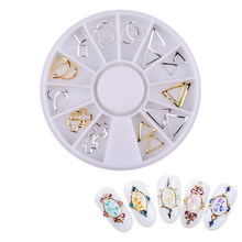24pcs/set Gold Silver 3d Hollow Metal Frame Nail Art Studs DIY Nail Decoration Wheel(China)