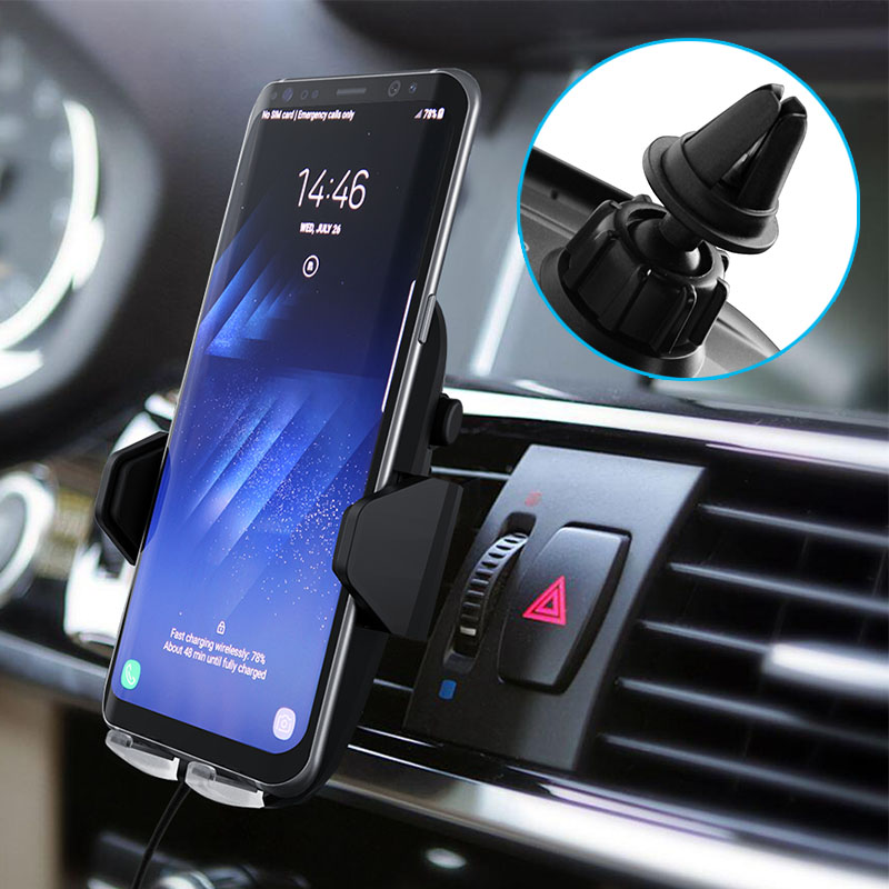 Car Charger Qi Fast Wireless Charger for iPhone X 8 8 Plus Quick Wireless Charging Car Holder Stand for Samsung Galaxy S8 S9
